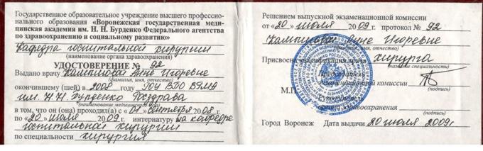 удостоверение на оказание медицинской деятельности Богданова Анна Игоревна
