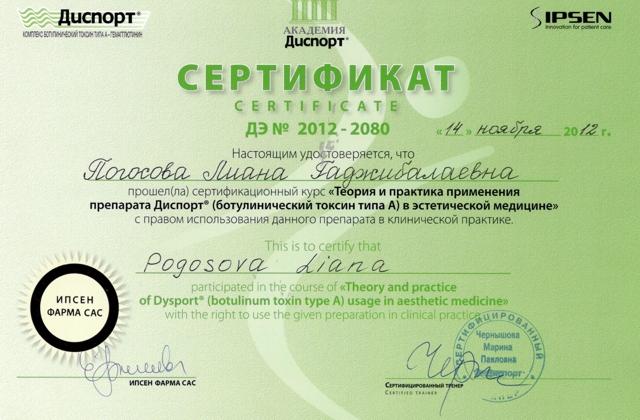 сертификат на использование препарата Диспорт